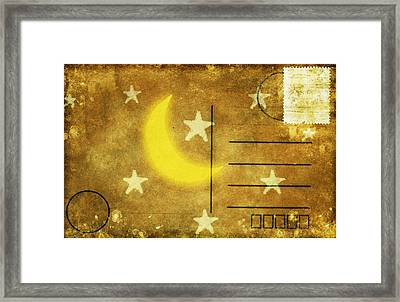 Moon And Star Postcard Framed Print