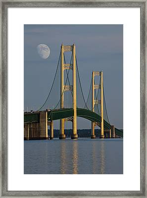 Moon And The Mackinaw Bridge By The Straits Of Mackinac Framed Print by Randall Nyhof