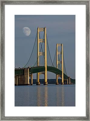 Moon And The Mackinaw Bridge By The Straits Of Mackinac Framed Print