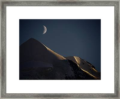 Moon At Night Over Mountain Silver Horn Framed Print by Rolfo