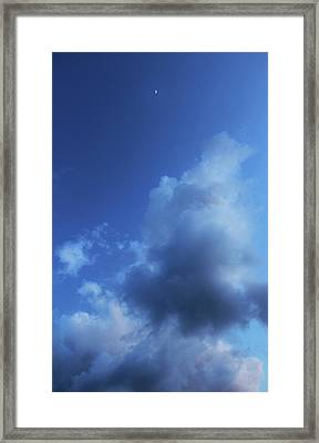 Moon In A Cloudy Sky At Twilight Framed Print by Gal Ashkenazi