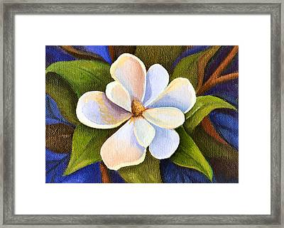 Moon Light Magnolia Framed Print by Elaine Hodges