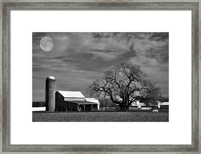 Moon Lit Farm Framed Print by Todd Hostetter