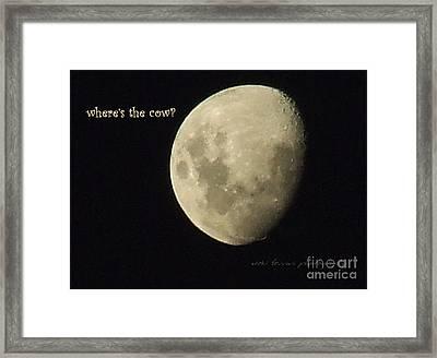 Moon Missing Cow Framed Print by Vicki Ferrari