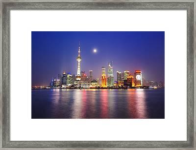 Moon Night The Bund Framed Print by Copyright of Eason Lin Ladaga