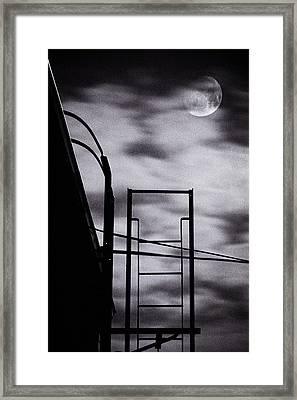 Moon Over Brooklyn Rooftop Framed Print by Gary Heller