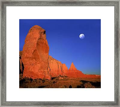 Moon Over Kodakchrome State Park Utah Framed Print by Daniel Chui