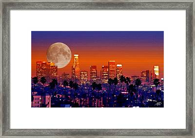 Moon Over Los Angeles Framed Print by Steve Huang
