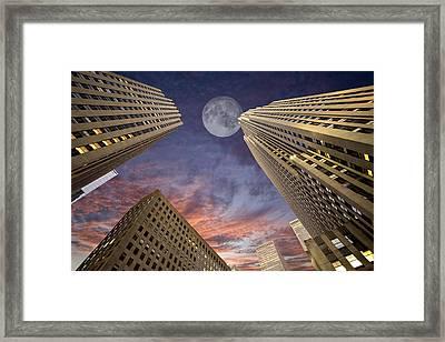Moon Over Manhattan Framed Print
