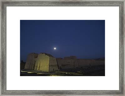 Moon Over Medinet Habu, The Temple Framed Print by Kenneth Garrett