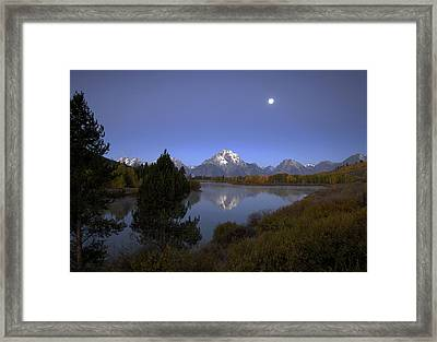 Moon Over Oxbow Bend The  Grand Tetons Framed Print
