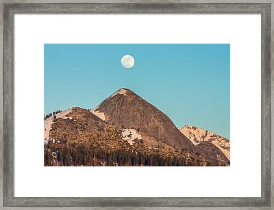 Moon Over Sierra Peak Framed Print by Marc Crumpler