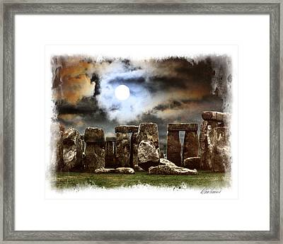 Moon Over Stonehenge Framed Print by Diana Haronis