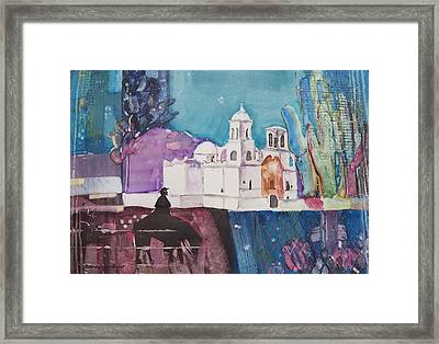 Moon Over The Mission Framed Print by Regina Ammerman