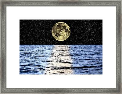 Moon Over The Sea, Composite Image Framed Print by Victor De Schwanberg