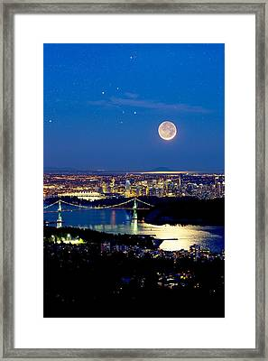 Moon Over Vancouver, Time-exposure Image Framed Print by David Nunuk