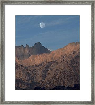 Moon Over Whitney Framed Print