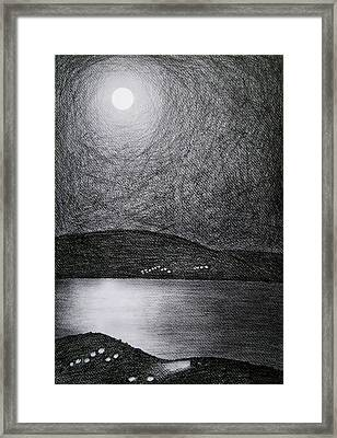 Moon Reflection On The Sea Framed Print