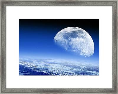 Moon Rising Over Earth's Horizon Framed Print