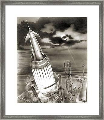 Moon Rocket Launch, 1950s Artwork Framed Print
