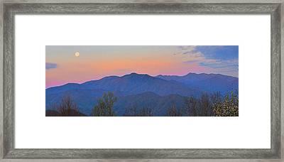 Moon Sets Over Smokies #2 Framed Print by Alan Lenk