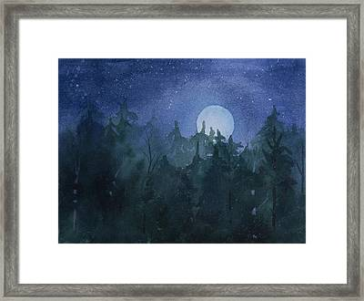 Moon Setting Over Forest Framed Print by Debbie Homewood