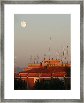 Moon Sight At Sunset Framed Print by Luca Rosa