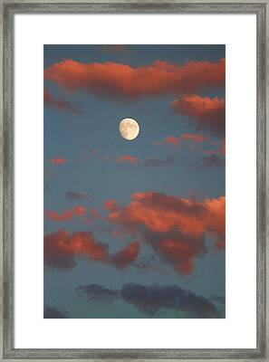 Moon Sunset Vertical Image Framed Print
