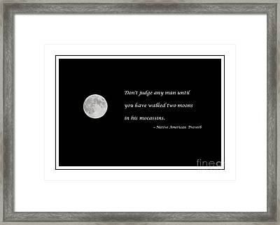 Moon With Proverb Framed Print