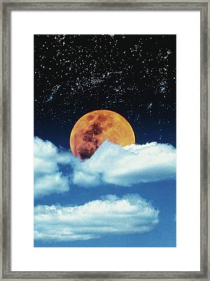 Moon With Stars In Clouds Framed Print by David Jeffrey