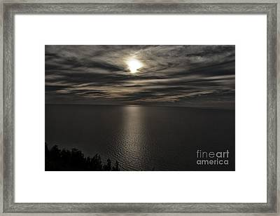 Moonglow Over Lake Michigan Framed Print by Christopher Purcell