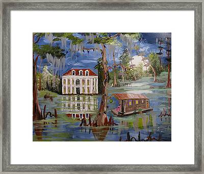Moonlight And Houseboat Framed Print by Mary Crochet