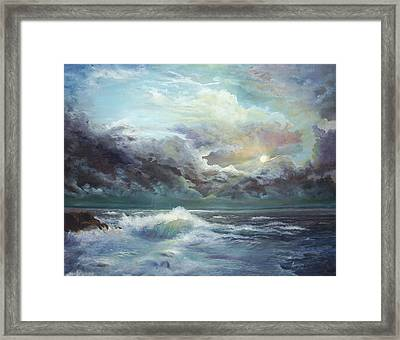 Moonlight At The Ocean Framed Print