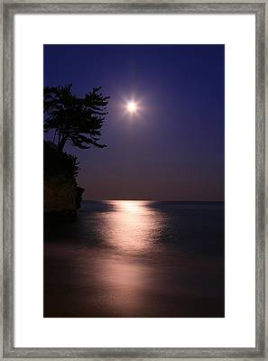 Moonlight (cormorant Point) Framed Print by Copyright Crezalyn Nerona Uratsuji