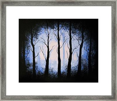 Framed Print featuring the painting Moonlight Forest by Edwin Alverio