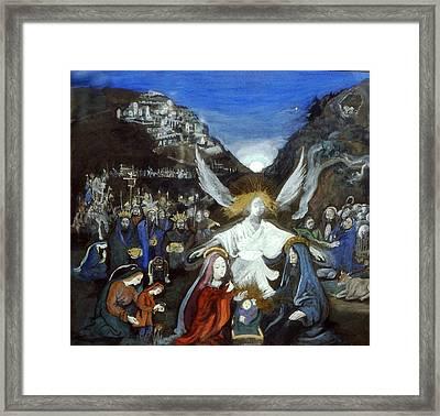 Moonlight Nativity Framed Print