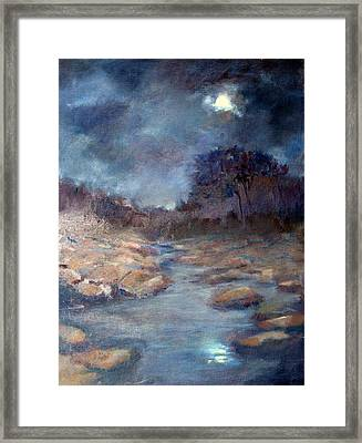 Framed Print featuring the painting Moonlight by Rosemarie Hakim