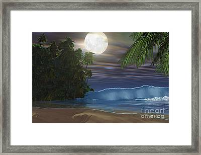 Moonlight Shines Down On The Beach Framed Print by Corey Ford