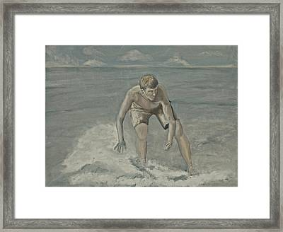 Moonlight Skimboarder Framed Print by Peter Edward Green