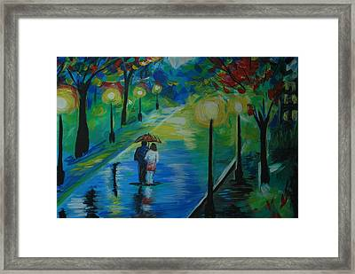 Framed Print featuring the painting Moonlight Stroll Series 1 by Leslie Allen