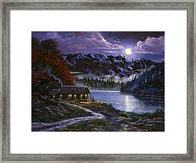 Moonlit Cabin Framed Print by David Lloyd Glover