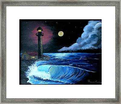 Framed Print featuring the painting Moonlit Ocean by Fram Cama