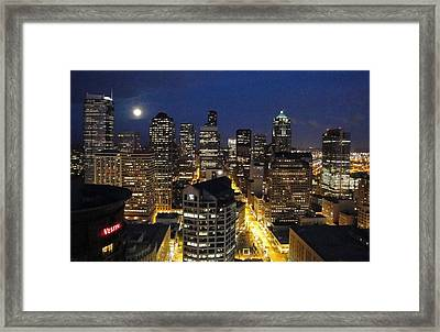 Moonlit Seattle Skyline Framed Print