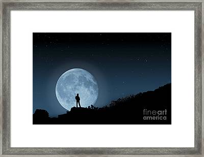 Framed Print featuring the photograph Moonlit Solitude by Steve Purnell