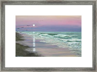 Framed Print featuring the painting Moonrise - Golden Mile by Kathleen McDermott