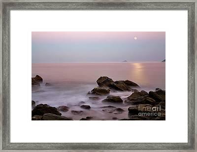 Moonrise At Maresias Beach Framed Print by Keith Kapple