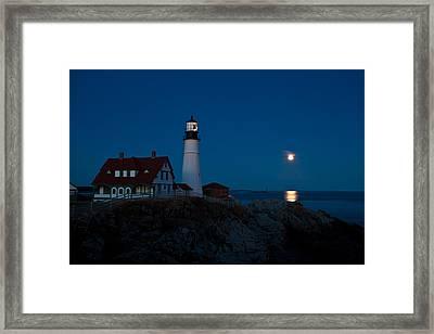 Moonrise At Portland Head Framed Print