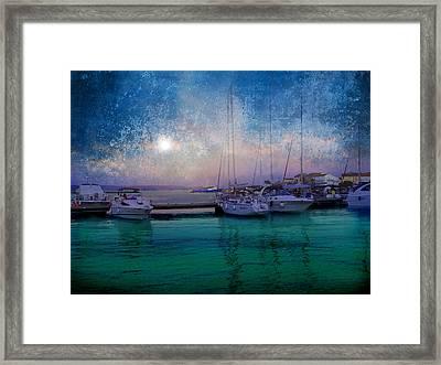 Moonrise At The Bay In Kukljica Croatia Framed Print