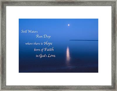 Moonrise On Lake Superior With Quote Framed Print