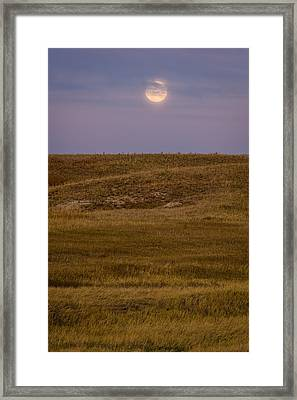 Moonrise Over Badlands South Dakota Framed Print by Steve Gadomski